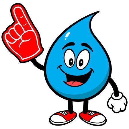 foam finger: Water Drop with Foam Finger Illustration