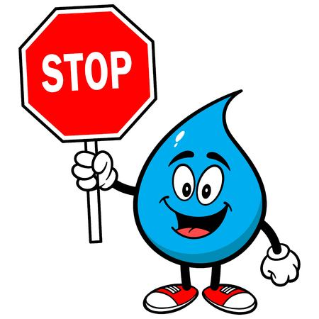 Water Drop with a Stop Sign 矢量图像