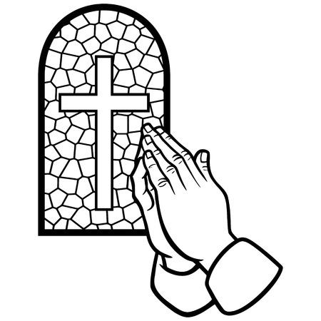 Kerk Gebed Illustratie Stockfoto - 61903879