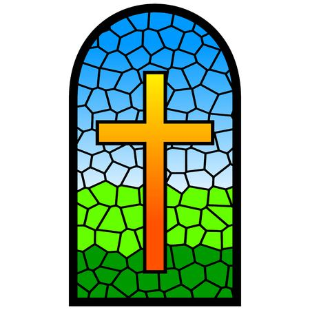 cathedrals: Stained Glass Window Illustration