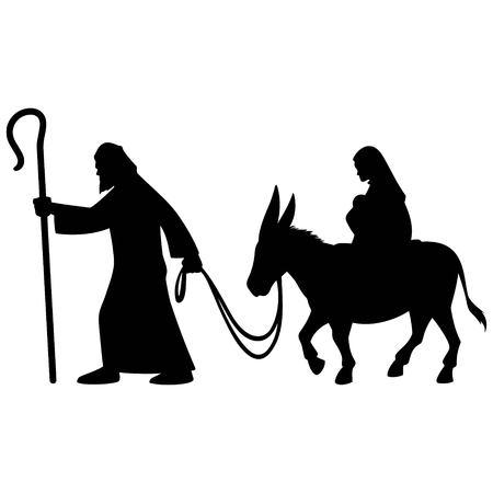 Maria und Joseph Silhouette