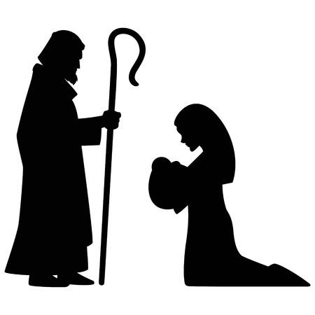 Mary, Joseph and Baby Jesus  イラスト・ベクター素材