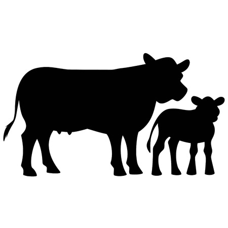 Cow and Calf Silhouette Illustration