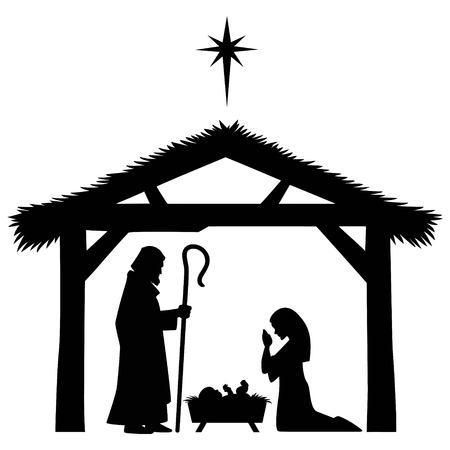 Mary, Joseph and Jesus Silhouette Vettoriali