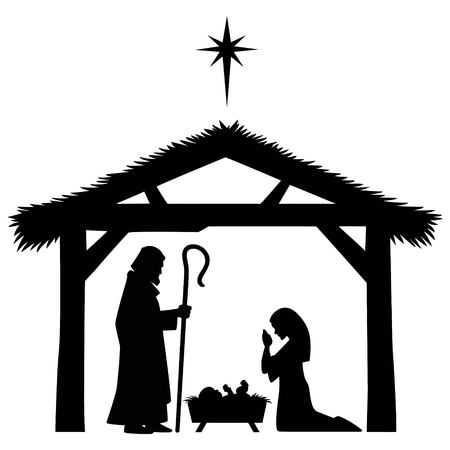 Mary, Joseph and Jesus Silhouette Illustration