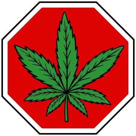 substances: Marijuana Stop Sign Illustration