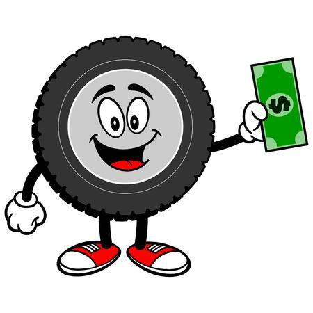 Tire Cartoon with Dollar Illustration