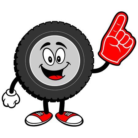 Tire Cartoon with Foam Finger Stok Fotoğraf - 68811668