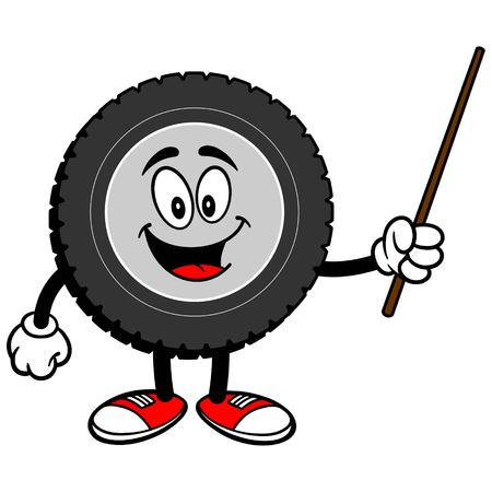 Tire Cartoon with Pointer