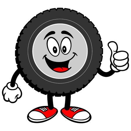 Tire Cartoon with Thumbs Up