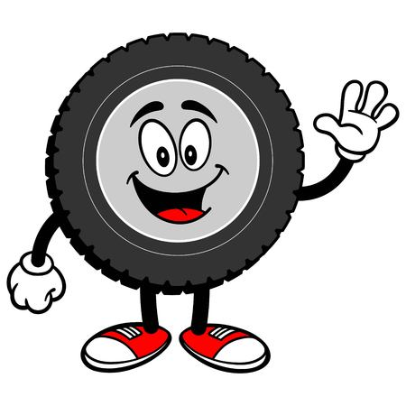 Tire Cartoon Waving