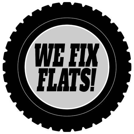 We Fix Flat Tires Illustration