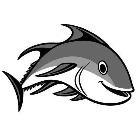 Tuna Swimming Illustration