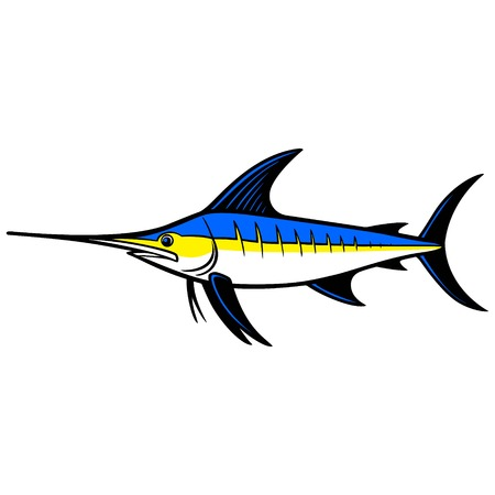 pez vela: Trofeo de pez espada Vectores