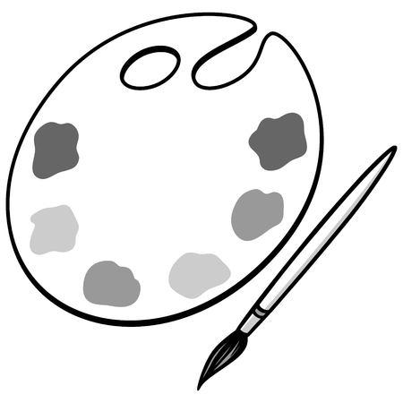 Kunstpalet en penseelillustratie