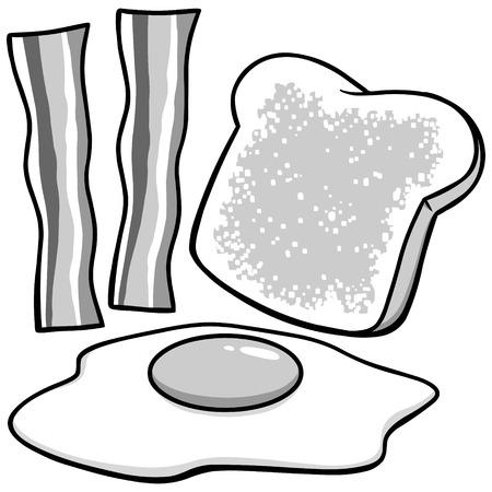 ベーコン、卵とトーストのイラスト