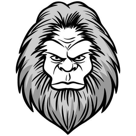 Bigfoot Head Illustration