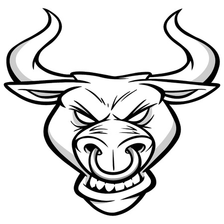 Bull Mascot Head Illustration Illustration