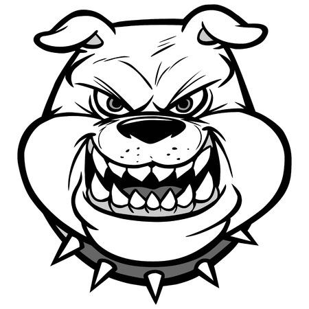 Bulldog Head On View Illustration Çizim