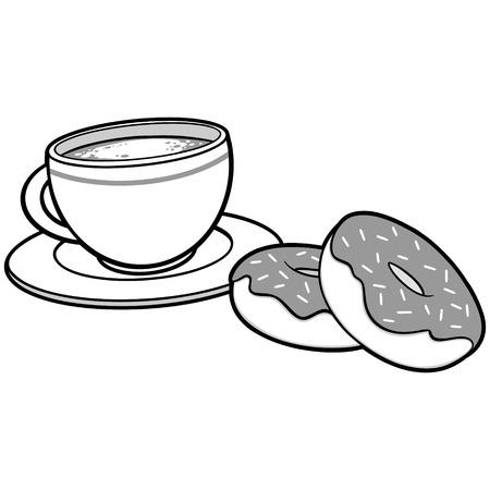Ciambelle del caffè e illustrazione del caffè. Archivio Fotografico - 71556279