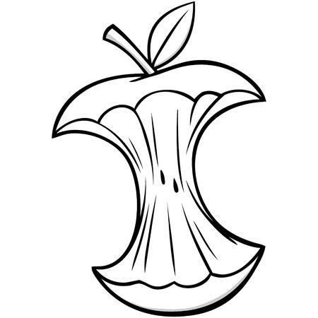Cartoon Apple Core Illustration