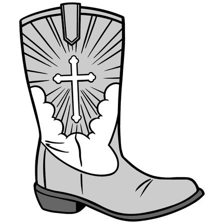 catholicism: Cowboy Church Icon Illustration Illustration