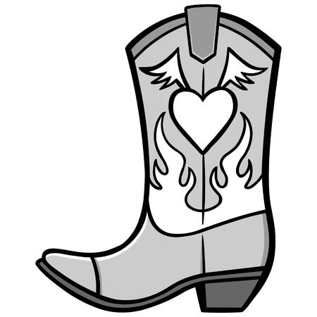 Cowgirl Boot Illustration.
