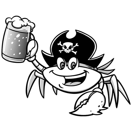 costume eye patch: Crab Pirate Illustration. Illustration