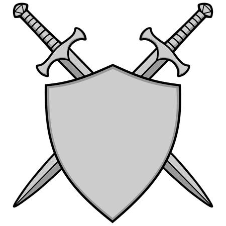 Crossed Swords and Shield Illustration. 向量圖像