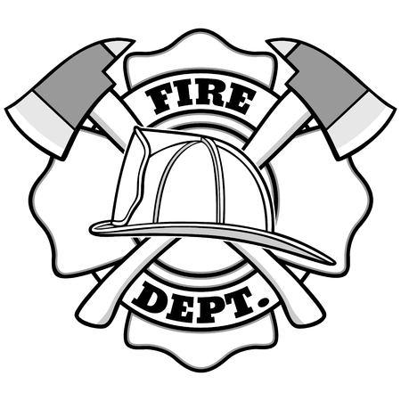 Feuerwehrmann Abzeichen Illustration Vektorgrafik