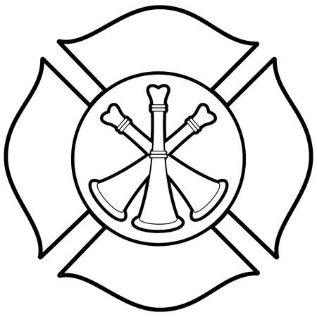 bugle: Firefighter Bugle Badge Illustration