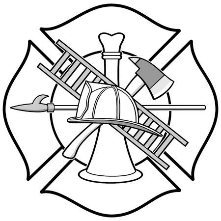 Illustrazione del distintivo di onore del pompiere