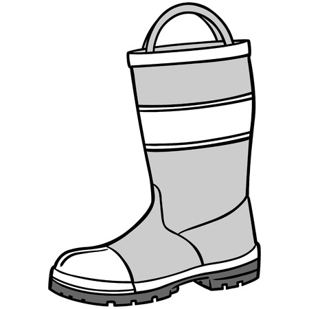 Fireman Boot Illustration
