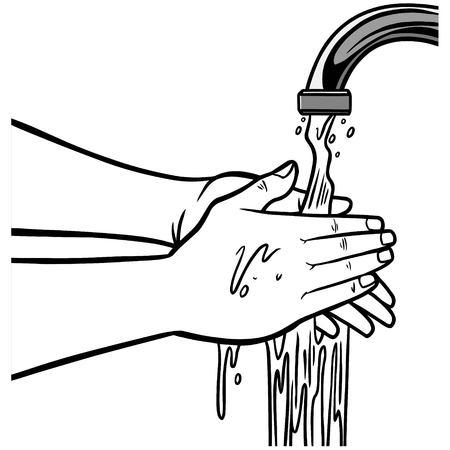 Lavage à la main Illustration Vecteurs