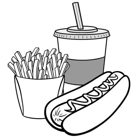 Hot Dog Combo Illustration