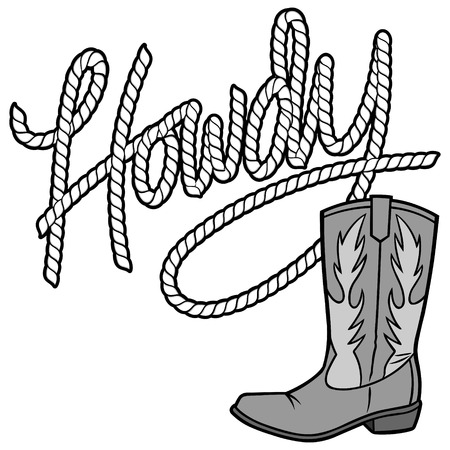 Howdy Cowboy Rope and Boot Illustration Illustration