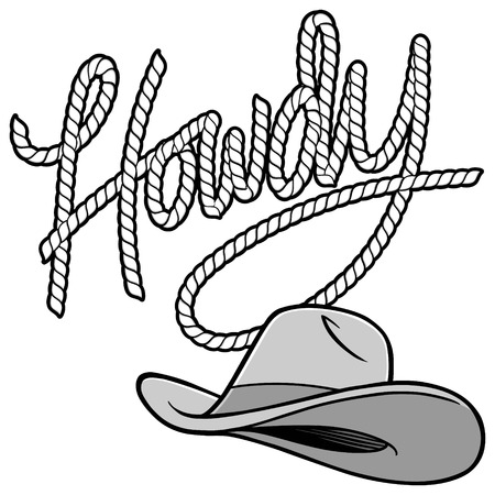 Howdy Cowboy Rope and Hat Illustration Illustration