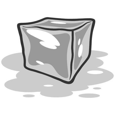 Ice Cube Melting Illustration Reklamní fotografie - 71730171
