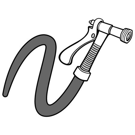 Water Spray Gun with Hose Illustration