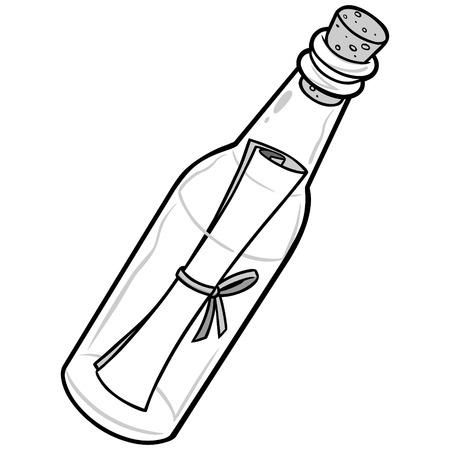 Message in bottle illustration.