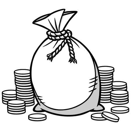 Geldzak illustratie. Stock Illustratie