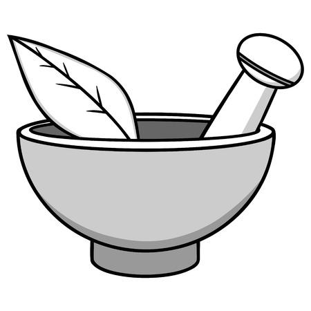 Mortar & pestle illustration.