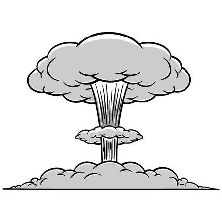 threaten: Mushroom cloud illustration. Illustration