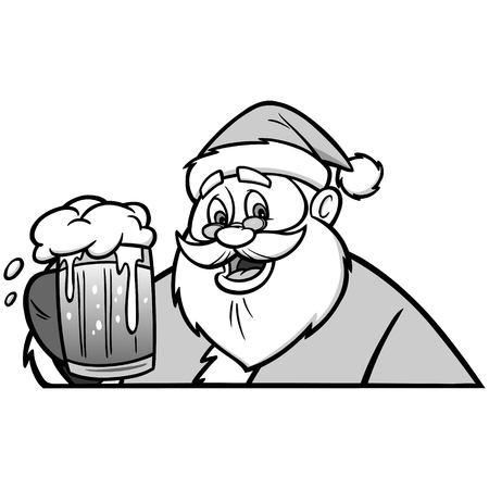 Santa with Beer Illustration