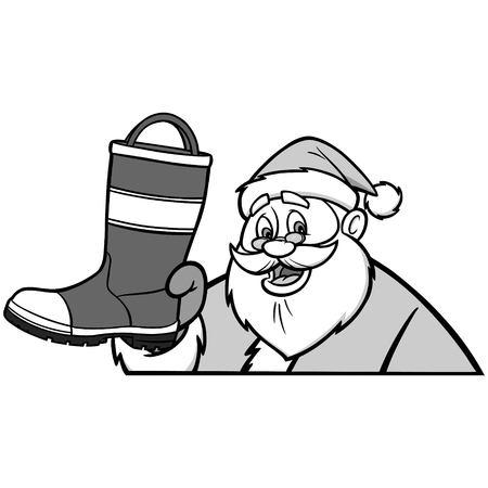 safty: Santa with Fireman Boot Illustration Illustration