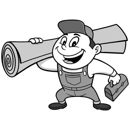 Speedy Carpet Installer Illustration Stock Illustratie