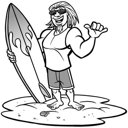 Surfer Joe illustration. Vektoros illusztráció