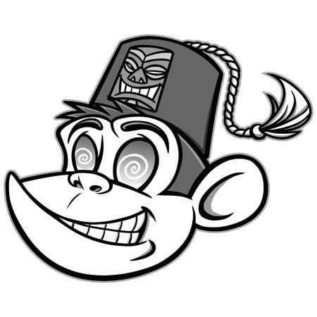 Tiki Lounge Monkey Illustration