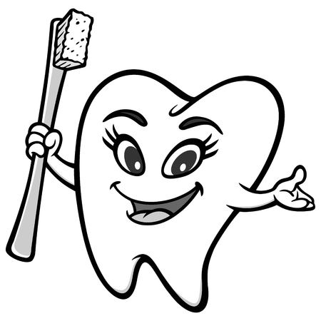 Tooth Girl Mascot Illustration