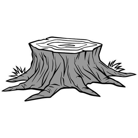 Illustratie van de boomstompverwijdering